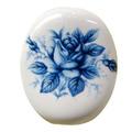 陶器ビーズ 青バラ