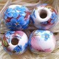 陶器ビーズ 14mm 青花