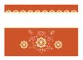 正倉院紋様 グリーティングカード 柄大 オレンジ