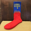 lurk hard socks flame logo RED