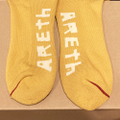 AREth socks middle sox JAHI logo YELLOW