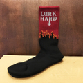 lurk hard socks flame logo BURGUNDY