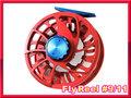 フライリール #9/11 Red Blue ラージアーバータイプ Fly Reel アルミマシンカット
