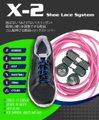 X-2シューレースシステム 結ばない!ほどけない!スリッポン!簡単に縛りを調整できる靴紐 ゴム製伸びる靴紐+ロックストッパー (カラー:ピンク)在庫品