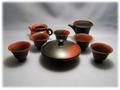 極上手もみ茶用 常滑焼窯変たたき 絞りだし揃い 益規作