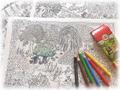 塗り絵 「魔女のシークレットガーデン」鳥瞰図4枚セット