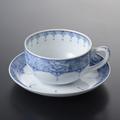 間取牡丹唐草 紅茶碗皿