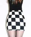 大人mode系ブロック柄パターンミニスカート