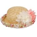 子供用フラワーコサージュ付きデザイン麦わら帽子