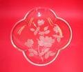透明皿(バラ文様段彫り)