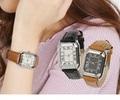 スクエア レザータッチデザインウォッチ腕時計