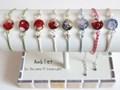 天然石とガラス粒のシルクコードアンクレット 各種