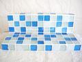 背面のあるガラスモザイクタイルの小物置き(ディスプレイトレイ)Blue Mix