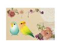 ポストカード(花とコザクラインコ)