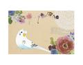 ポストカード(花とセキセイインコ)