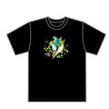 幸せの鳥 チャリティTシャツ(植物モチーフ黒)