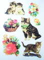 特価品・アンティーク柄アイロンプリントシート(猫4×花かこB)