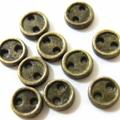 メッキボタン2つ穴3.8ミリ(金ブロンズ)