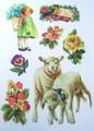 特価品・アンティーク柄アイロンプリントシート(羊×女の子×苺×花H)