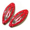 ミニミニぱっちんどめ・水玉楕円(赤)