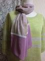 裾配色のポリエステルジョーゼットスカーフ