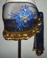 ヒップスカーフ(ブラック&ブルー×金コイン2種類)大型花柄刺繍 HPW-ST07