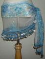 ヒップスカーフ(ライトブルー×銀コイン2種類)スパンコール刺繍 HPW-ST02