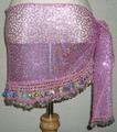 ヒップスカーフ(ピンク×銀コイン2種類)スパンコール刺繍 HPW-ST06