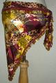 ヒップスカーフ三角(ワインレッド系ワイルド柄×金コイン) HPW-T05