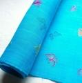 蝶の刺繍入り麻(翡翠色)