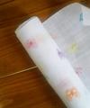 蝶の刺繍入り麻(白)