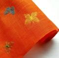 蝶の刺繍入り麻(オレンジ色)