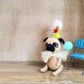 羊毛フェルト人形ピエロパグ