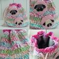 パグブローチ付かぎ編み巾着ピンク系