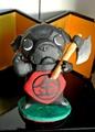 金太郎黒パグ 陶器置き人形