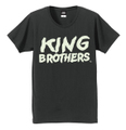 KING BROTHERS (XL) 暗闇で光るロゴTシャツ カーボン×蓄光文字 送料込