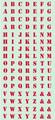 くらくらシール DE1-08 アルファベット赤