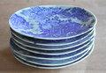 明治楕円の皿、青磁に印判