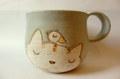 長田めぐみ*ネコと小鳥のたっぷりマグカップ