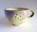 丹山窯 お花と猫のスープカップ*パープル