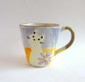 丹山窯 猫とお花のマグカップ*パープル