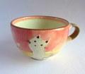 丹山窯 お花と猫のスープカップ*ピンク
