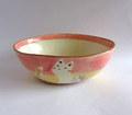 丹山窯 お花と猫のだ円鉢*ピンク