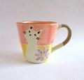 丹山窯 猫とお花のマグカップ*ピンク