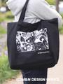 M&Nデザインオフィス オリジナルエコバッグ(柴犬と桜)/ブラック