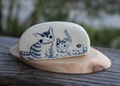 キュートな1点もの! 手びねり猫カード立て 親子B(陶器製)