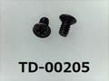 (TD-00205) 鉄 #0特サラ (D=1.8) + M1x2 三価黒