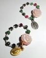 バラの花の指輪・天然石(15S4)