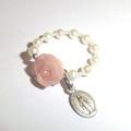 バラの花の指輪・天然石(14A1)