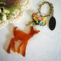 バンビとお花のバッグチャーム